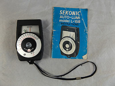 Vintage Sekonic Auto-Lumi L-158 Light Meter with Manual