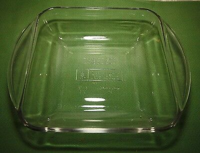 "Vintage ANCHOR HOCKING 2 Quart 8"" x 8' x 2"" Square Clear Baking Dish - VERY NICE"