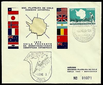 Chile, Antarctic, President Frei Antarctic Base, Year 1975, Fdc, Rare, (Gar08)