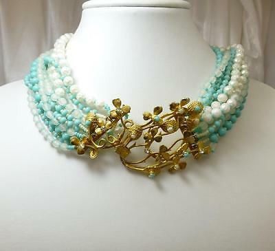 Amazing SANDOR Vintage Art Glass Beads & Intricate Gold Gilt Necklace-Must See!