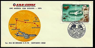 Chile, Lan Chile Joint America With Oceania., Year 1974, Fdc, Rare, (Gar15)
