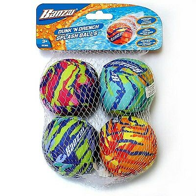 Banzai Dunk 'N Drench Splash Balls Pool Toy - 4 Pack New Free Shipping