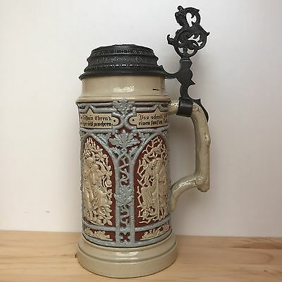 Antique Mettlach Villeroy And Boch Beer Stein 1L Vintage Collectable Rare 1880