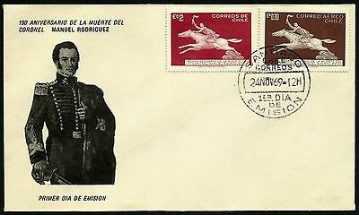 CHILE, 150th. ANNIV. DEATH OF MANUEL RODRIGUEZ, YEAR 1969, FDC, RARE, (GAR32)