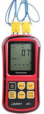 Leaton® Digital Thermocouple Thermometer Dual-channel LCD Backlight Meter For