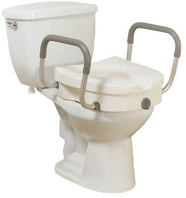 Elevated Toilet Seat Raiser Removable Padded Arms Elders Bathroom Medical Care