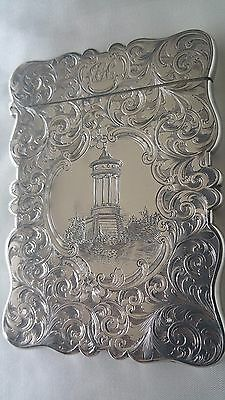 Rare Stunning Antique Castletop Double Relief Sterling Silver Card Case