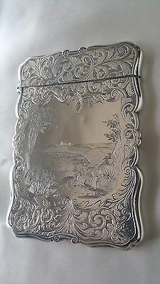 Rare Stunning Antique Nathaniel Mills Sterling Silver Card Case Birmingham 1887