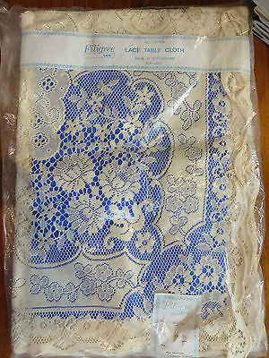 Vintage Filigree Cream Lace Tablecloth Caernarvon Nottingham England Cotton