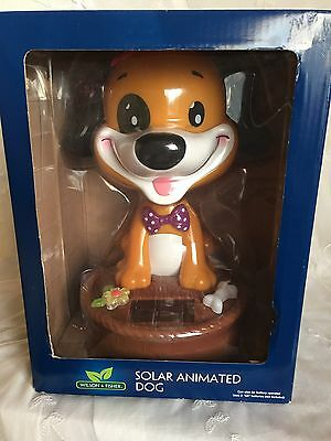 "Large Solar Animated Puppy Dog 10"" Bobble Head Dog Lover Birthday Toy"