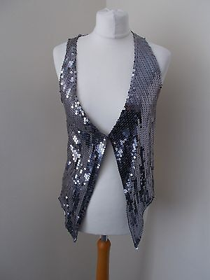 Women's Silver Sequin V Neck  Waistcoat Vest by New Look   Size 14