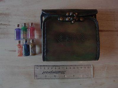 Handcrafted Green Brown 6 Bottle Potion Holder  LARP, Role Playing