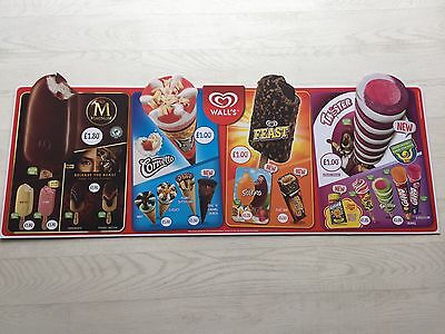Walls Ice Cream Suducer Freezer Board Sign Advertising Trailer Shop Cafe Pos