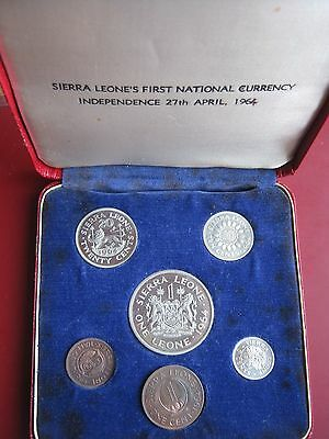 Sierra Leone 1964 First Proof coinage issue set from Half Cent to 1 Leone cased