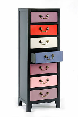 Pink/Purple Tall Cabinet Black with 7 Colour Drawers 38 x 26 x 110cm Storage New