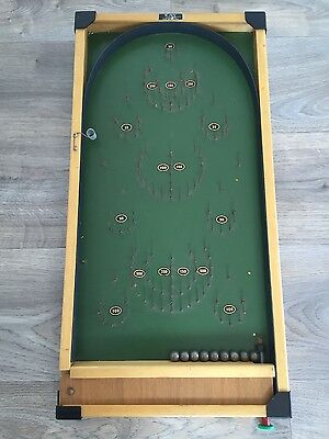 Vintage Table Top Game Bagatelle by Kay of London with 9 Metal balls - pin board