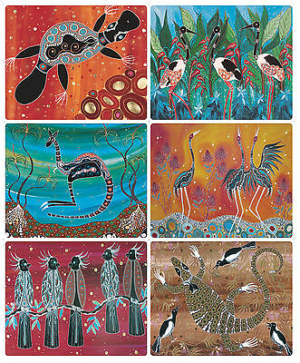 6 x COASTERS - AUSTRALIAN MADE - ABORIGINAL ANIMALS/BIRDS - SOUVENIR/GIFT