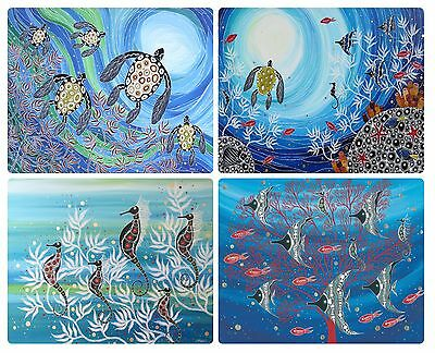 4 Placemats + 4 Coasters Set- Australian Made- Aboriginal Reef/ocean/turtle/fish