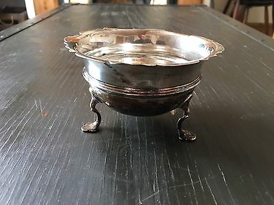 Antique Solid Sterling Silver Sugar Bowl Dish On Raised Feet 78g 1938 Wilmot Co
