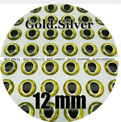 BLACK GOLD  / Wholesale 3-12mm 3D Holographic Fish Eyes Jigs Lures Tackle