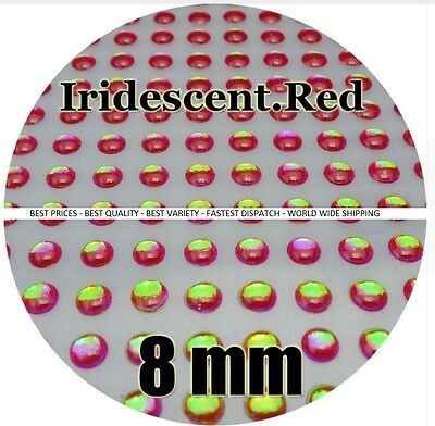 IRIDESCENT RED  3-12mm 3D Holographic Fish Eyes Stickers Eye Fishing Lures Jigs