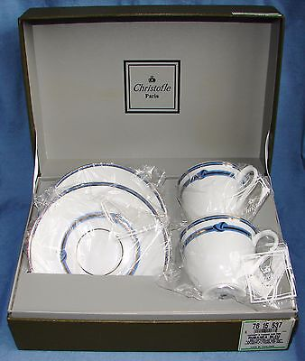 (2) Christofle Paris Rubanea Bleu Teacup & Saucer Sets ~ New In Presentation Box