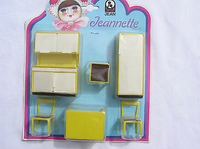 Vintage Jean Jeanette plastic doll house furniture  yellow white original pack