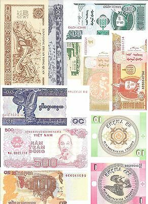 Lot of 11 Different Paper Money/Banknotes  Asia ( Lote 11 )