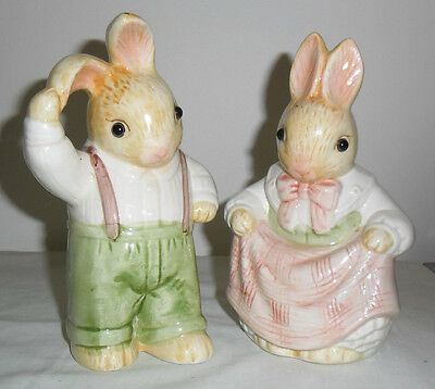 VINTAGE PORCELAIN RABBIT COUPLE FIGURINES with REAL GLASS EYES
