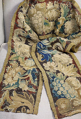 """17th Century French Aubusson Tapestry Border Panel Flowers 69"""" Long"""