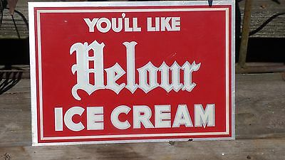 Vintage VELOUR Ice Cream Metal Advertising Sign, Dairy, Milk, Soda Shop, Dessert