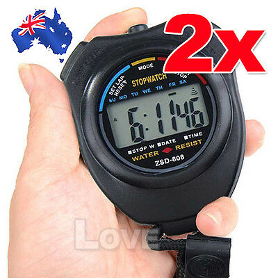 2x OZ J Handheld Digital LCD Chronograph Sports Counter Stopwatch Timer