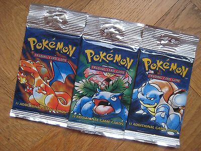 3 x Pokemon Base Set Booster Packs 1 of each Artwork (Sealed)
