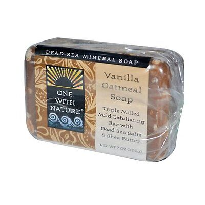 One With Nature Vanilla Oatmeal Dead Sea Mineral Soap, 7 Ounce Bar