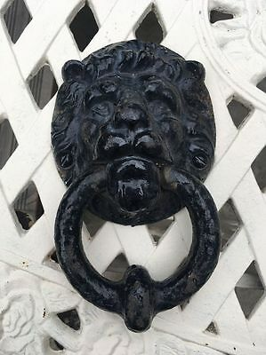 Antique Large Lion Head Victorian Door Knocker Cast Iron Very Old & Very Heavy
