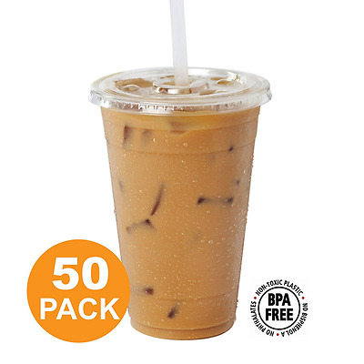 Clear Plastic Cups With Flat Slotted Lids for Iced Cold Drinks 16oz, Disposable,