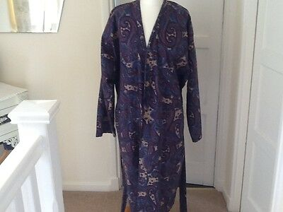 Mens Vintage St Michael M&S Paisley Smoking Jacket Dressing Gown Robe Size L