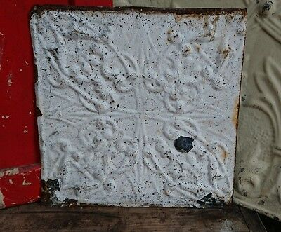 architectural antique salvaged American tin ceiling tiles Ohio 1898-1901 small.