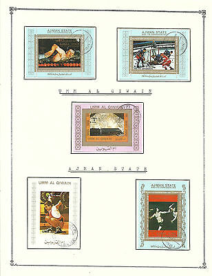 "AJMAN STATE Amazing Collection V.F. Used Stamps Hinged on list "" Sport, Art """