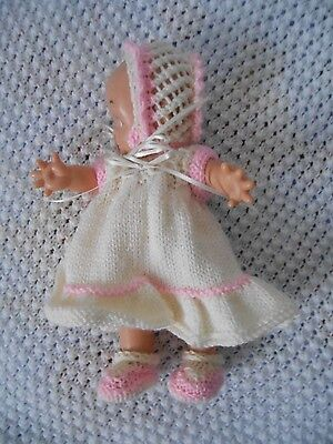 """Doll Clothes Hand-knit Cream Dress Fits Kewpie Cameo, Asthon Drake 10"""" to 12"""""""