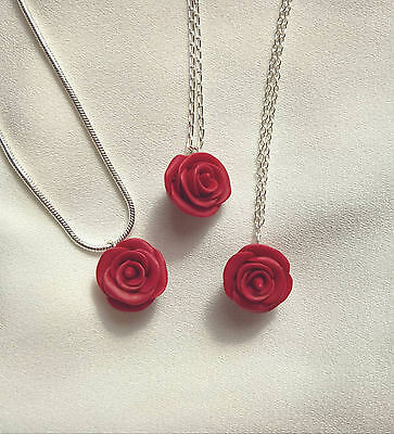 Red Rose 925 Sterling Silver Pendant Chain Necklace. Handmade Fimo Polymer Clay