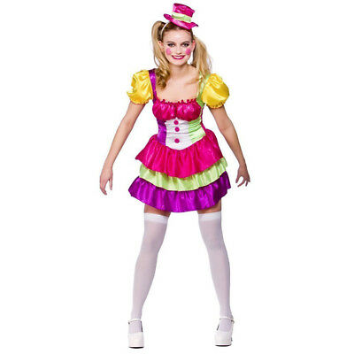 Wicked Adult Cute Clown With Dress And Hat Fancy Dress Costume