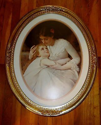 Vtg Homco HOME INTERIORS Framed Art Print Victorian Mother & Child Framed Oval