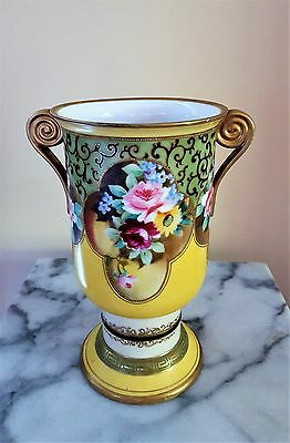 """Nippon Gilded and Hand Painted Floral Decorative Vase Urn* 9"""" x 5"""""""