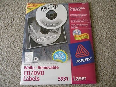 Brand New Avery 5931 Removable CD/DVD Labels 50 Disk/100Spine Labels