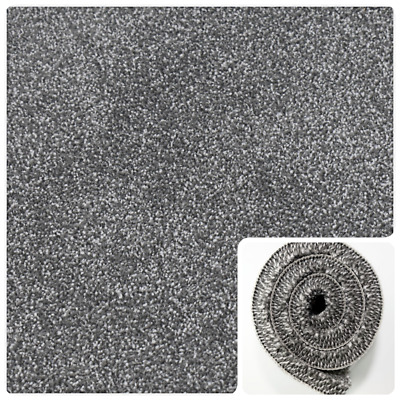 SUPERB THICK SILVER GREY Action Back Saxony 5m Wide Carpet £11.99sqm *RRP £20sqm