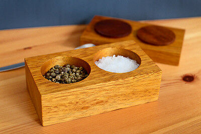 Eco-friendly Salt and Pepper pinch pots with lid handmade from Iroko hardwood
