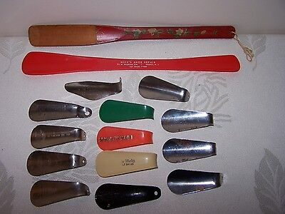Vintage Shoe Horn Advertising Mixed Lot Metal Plastic Hand Painted Wooden