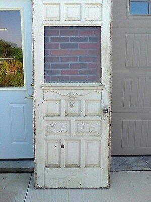 Antique Victorian Wood Door Sunrise Design w/Brass Bell and Knobs. many pnnels