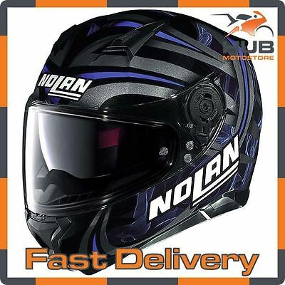 Nolan N87 Ledlight N-Com Full Face Motorcycle Motorbike Helmet - Black/Blue